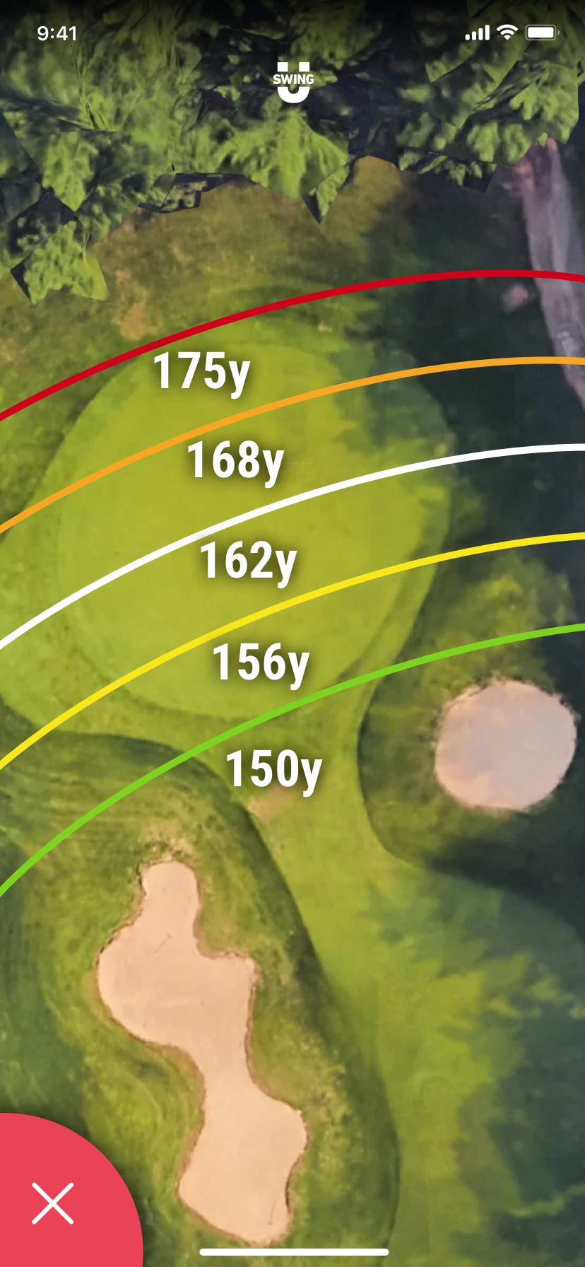 SwingU - Screenshot - SwingU Golf GPS Zoom-In Green Distances