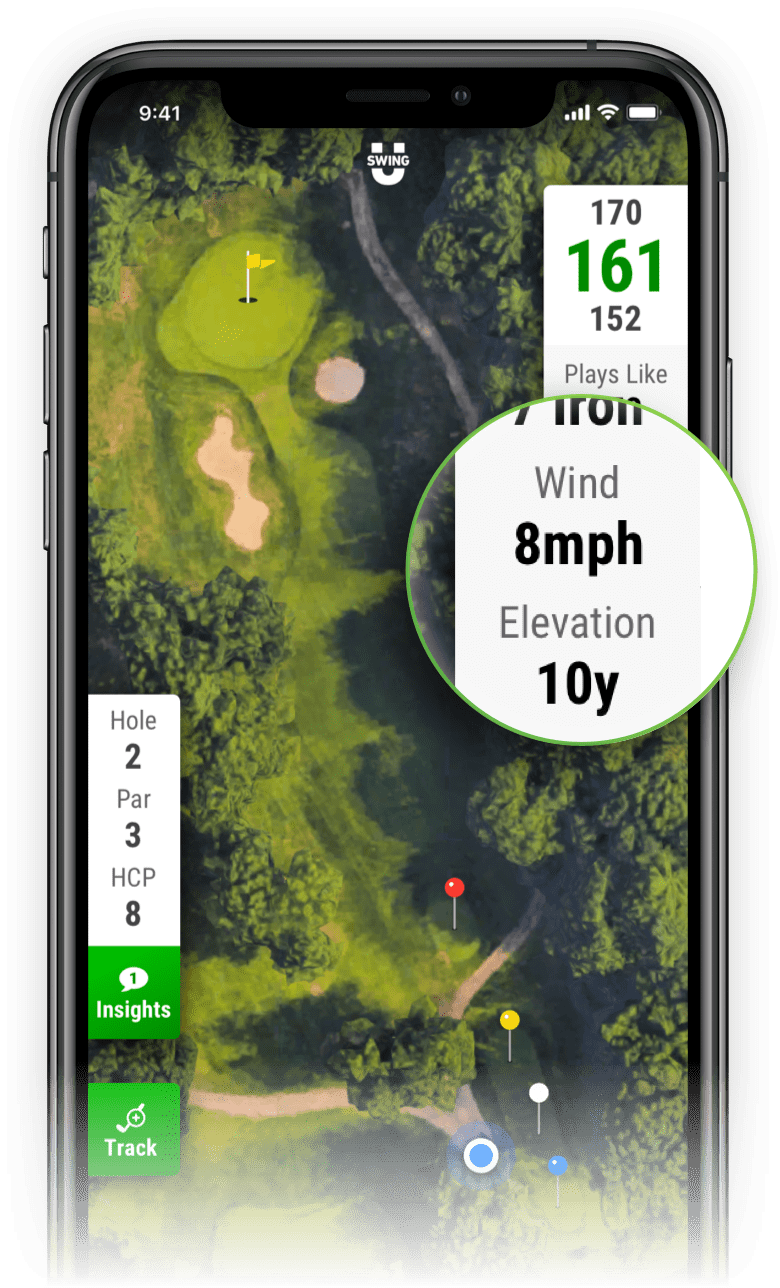 SwingU Golf GPS - Wind Speed and Elevation Data
