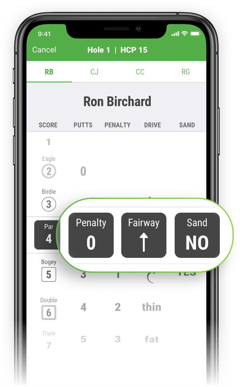 SwingU Golf GPS - Advanced Scorecard